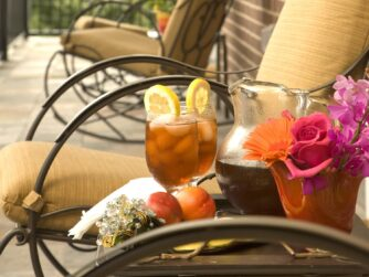 Relaxing on the veranda during the day with iced tea and fresh picked flowers