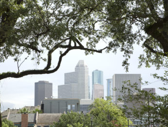 A view over the skyline of Houston, Texas during the day